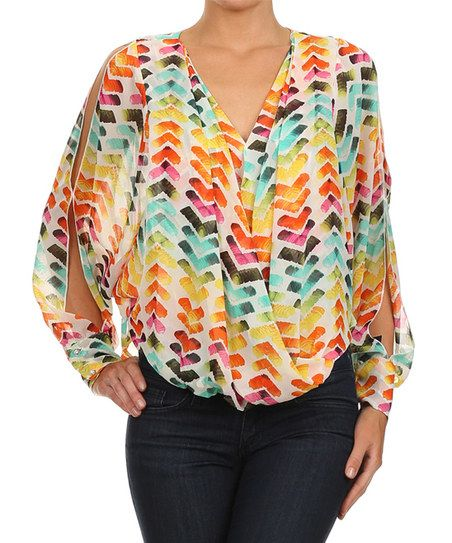 Karen T. Design White & Orange Geometric Cutout Tunic - Women & Plus   zulily