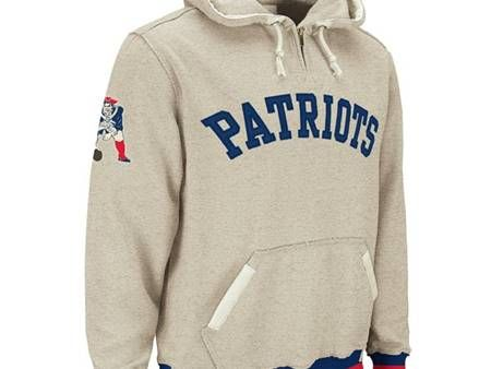 various design official images limited guantity New England Patriots Throwback 1/4 Zip Vintage Hoodie ...