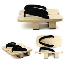 Men Wooden Geta Sandal Japanese Kimono Yukata Clog Flip Flop Slipper Platform