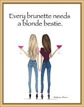 Photo of Brunette blonde with cosmos fashion illustration, every brunette needs a blonde,…