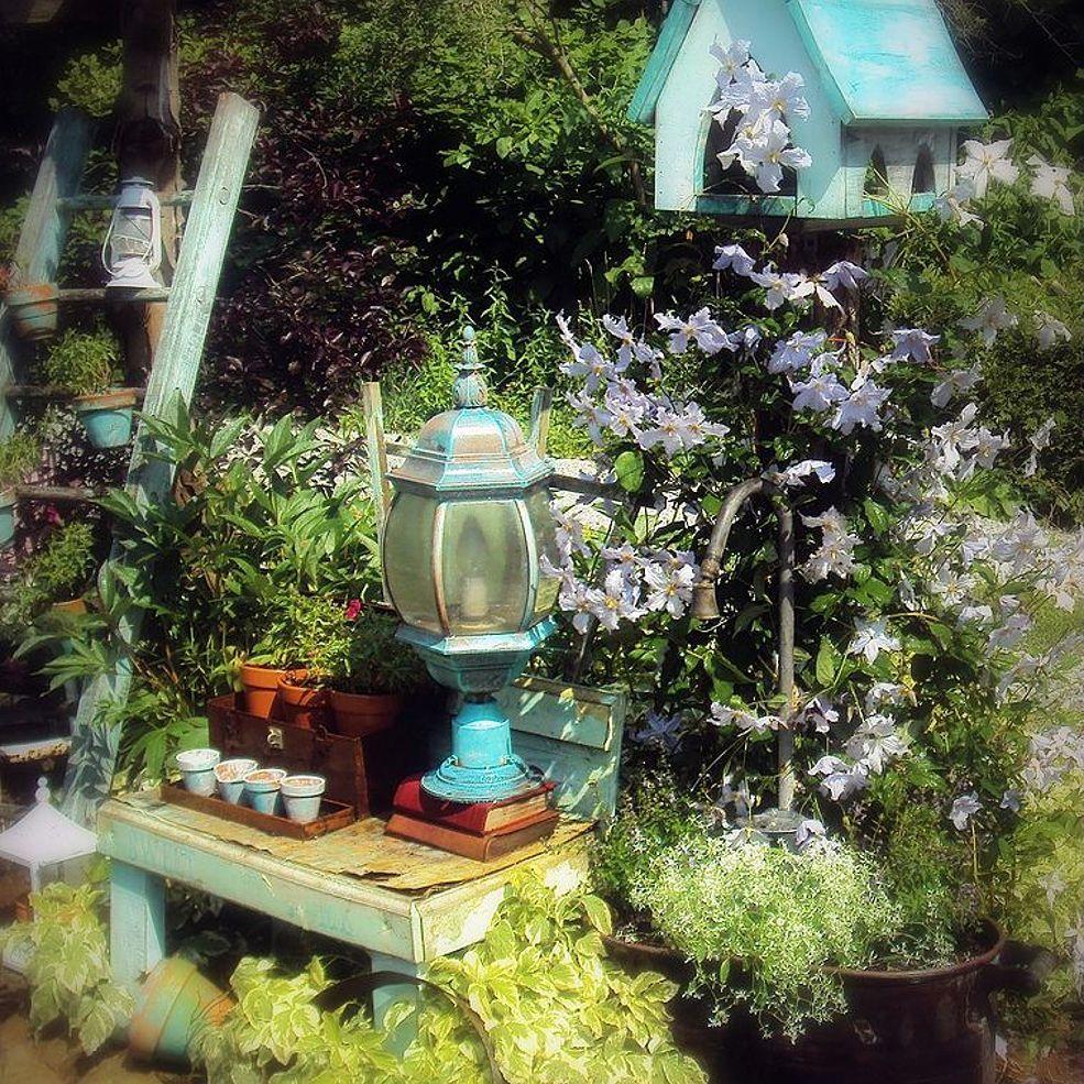 Garden decor with tyres  Goose Neck Facet Garden PlanterWith My Bird Feeder  Garden