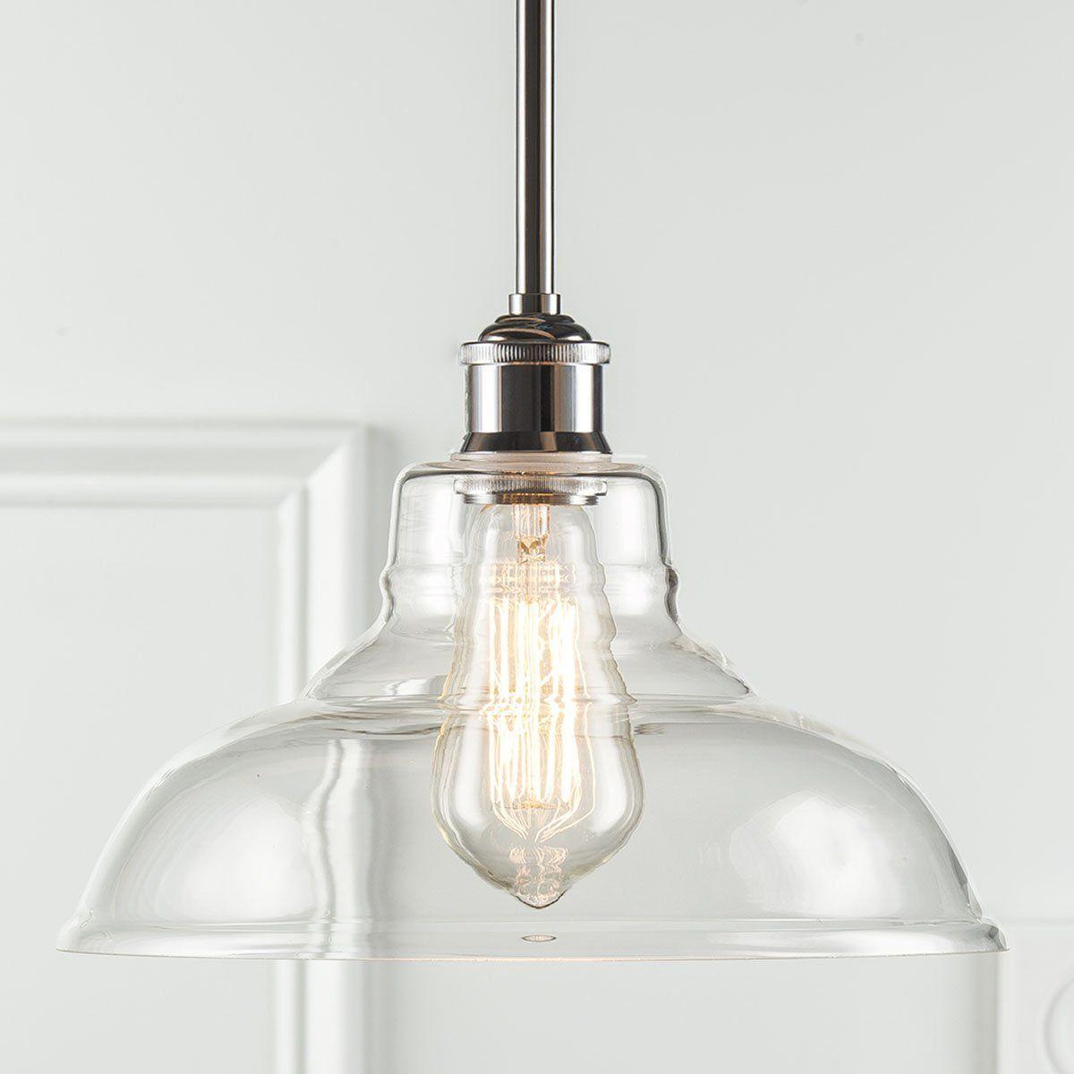 Linea Di Liara Lucera Industrial Factory Stem Hung Pendant Lamp   Polished  Chrome One Light