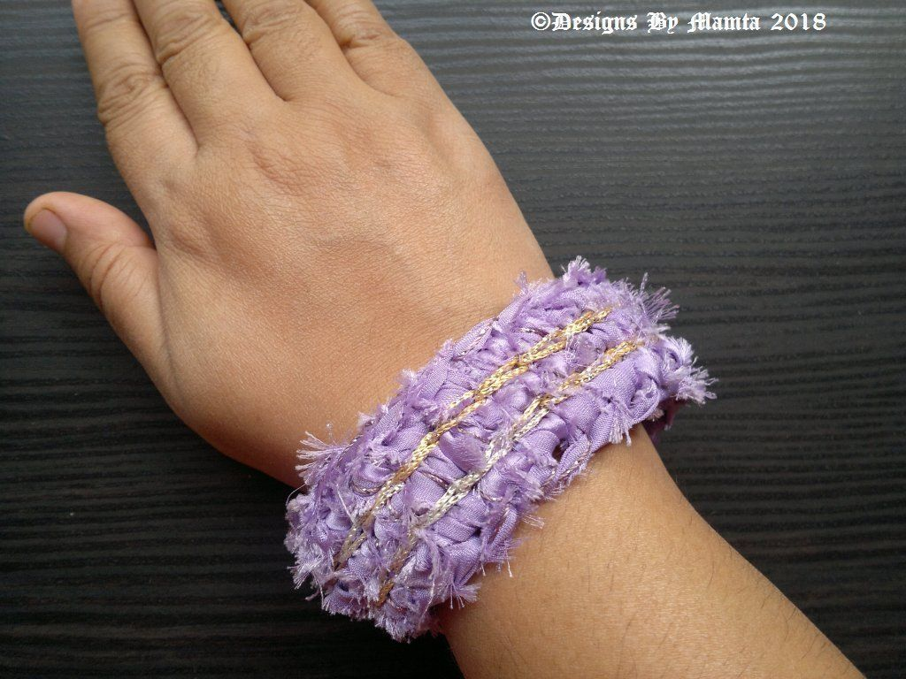 Lilac gold crochet cuff crocheted bracelet fabric cuff boho cuff