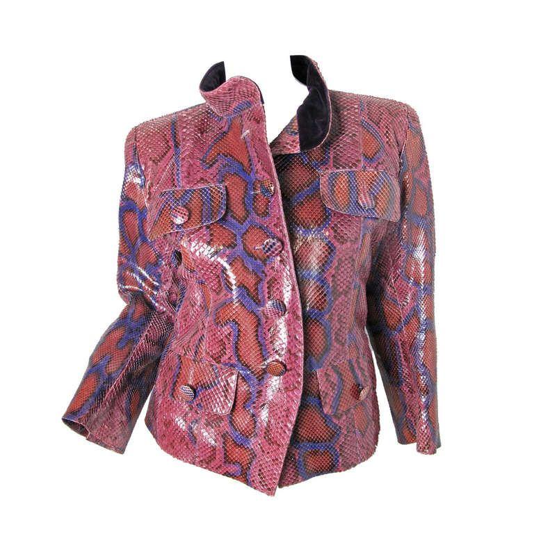 ec7075b1 Rare Yves Saint Laurent Rive Gauche Snake Skin Jacket ...