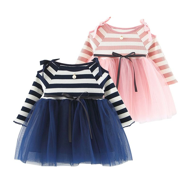 8dca17de2f Kids Clothes | Striped Bow Knit Ballerina Dress for baby girls ...