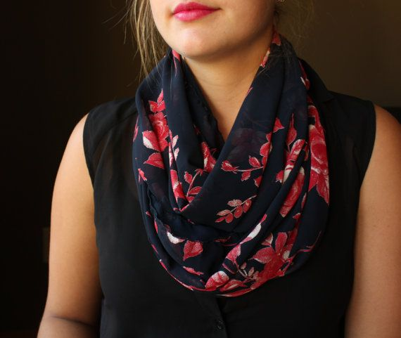 Navy Circle Scarf with a Red Flowers Infinity Scarf by slyscarves, $30.00