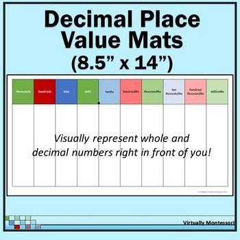Decimal Place Value Mats (85 - decimal to fraction chart