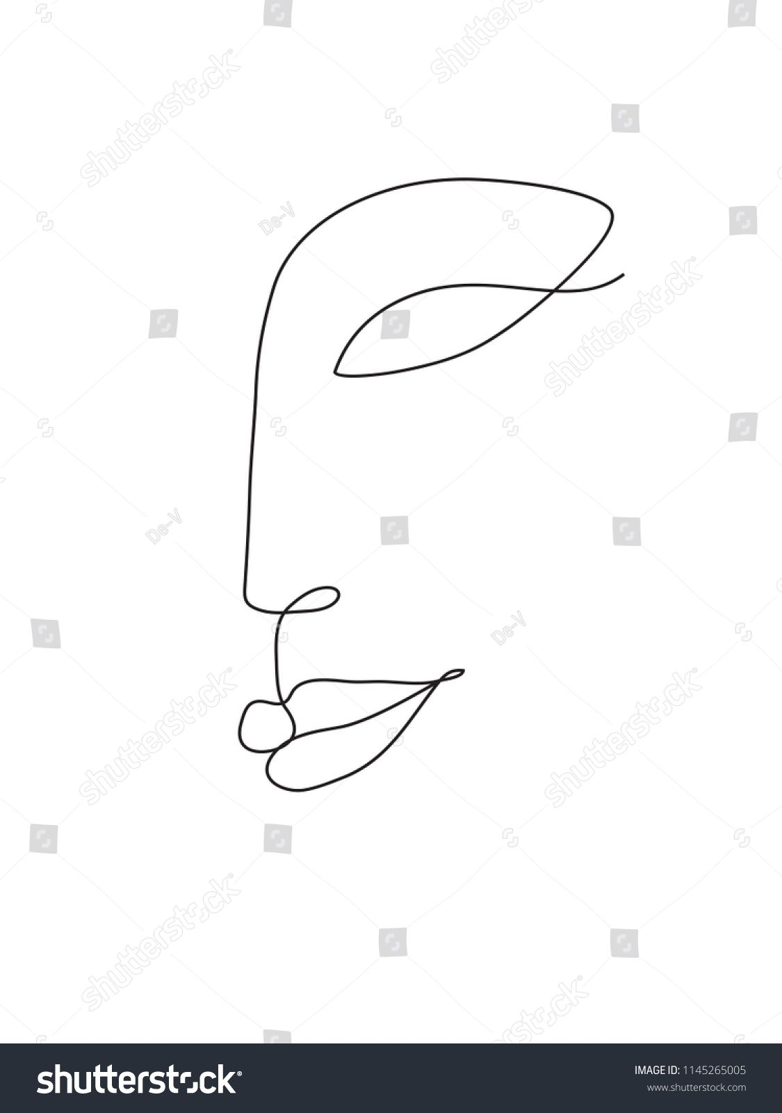 Abstract Face One Line Drawing Portret Minimalistic Style