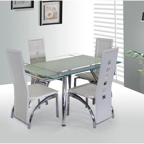 Dining Table With Clear Bordered Tempered Glass Top Frame In A Chrome Finish Http Goo G Glass Dining Table Extendable Glass Dining Table Small Dining Table