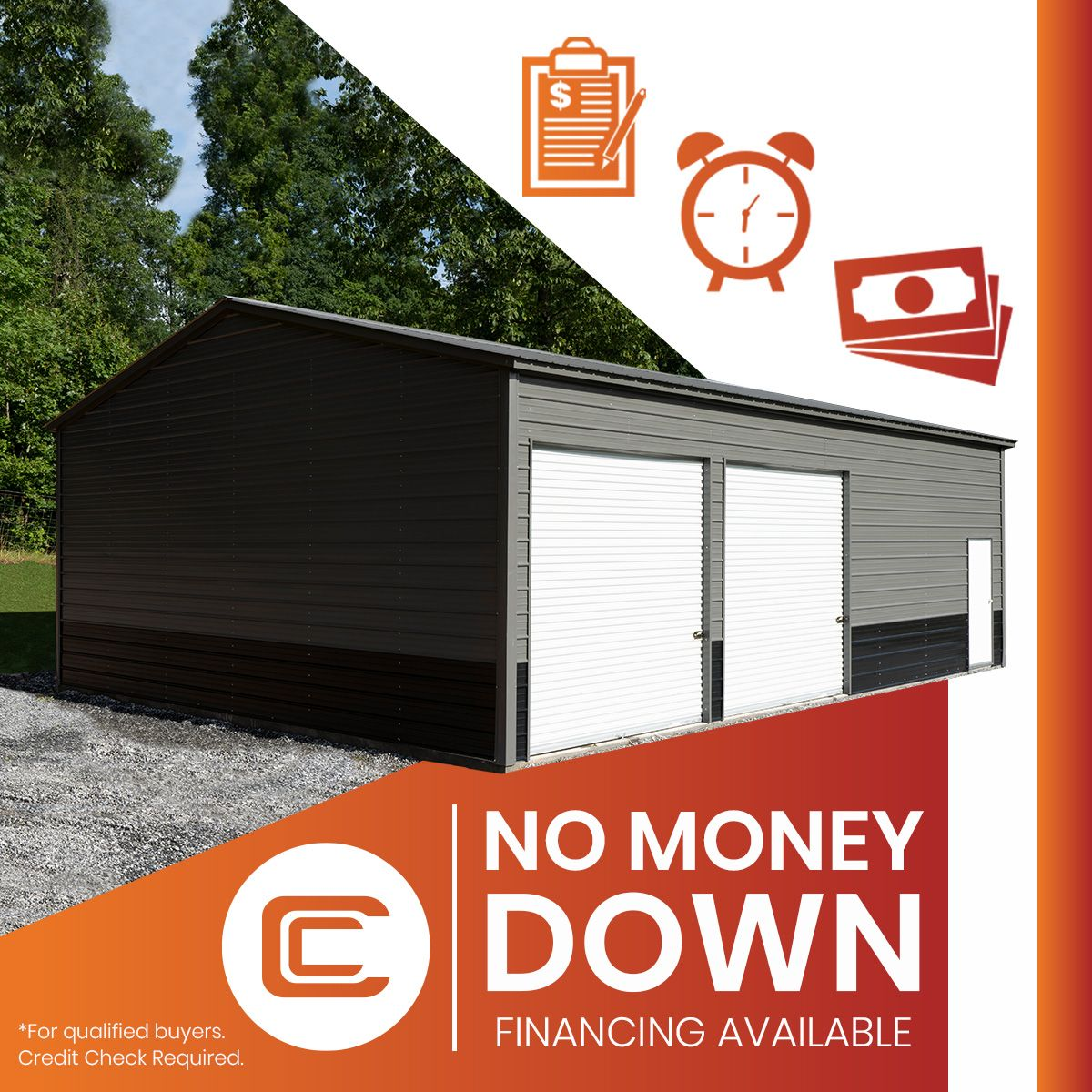 No Money Down Metal Buildings with Carport Central