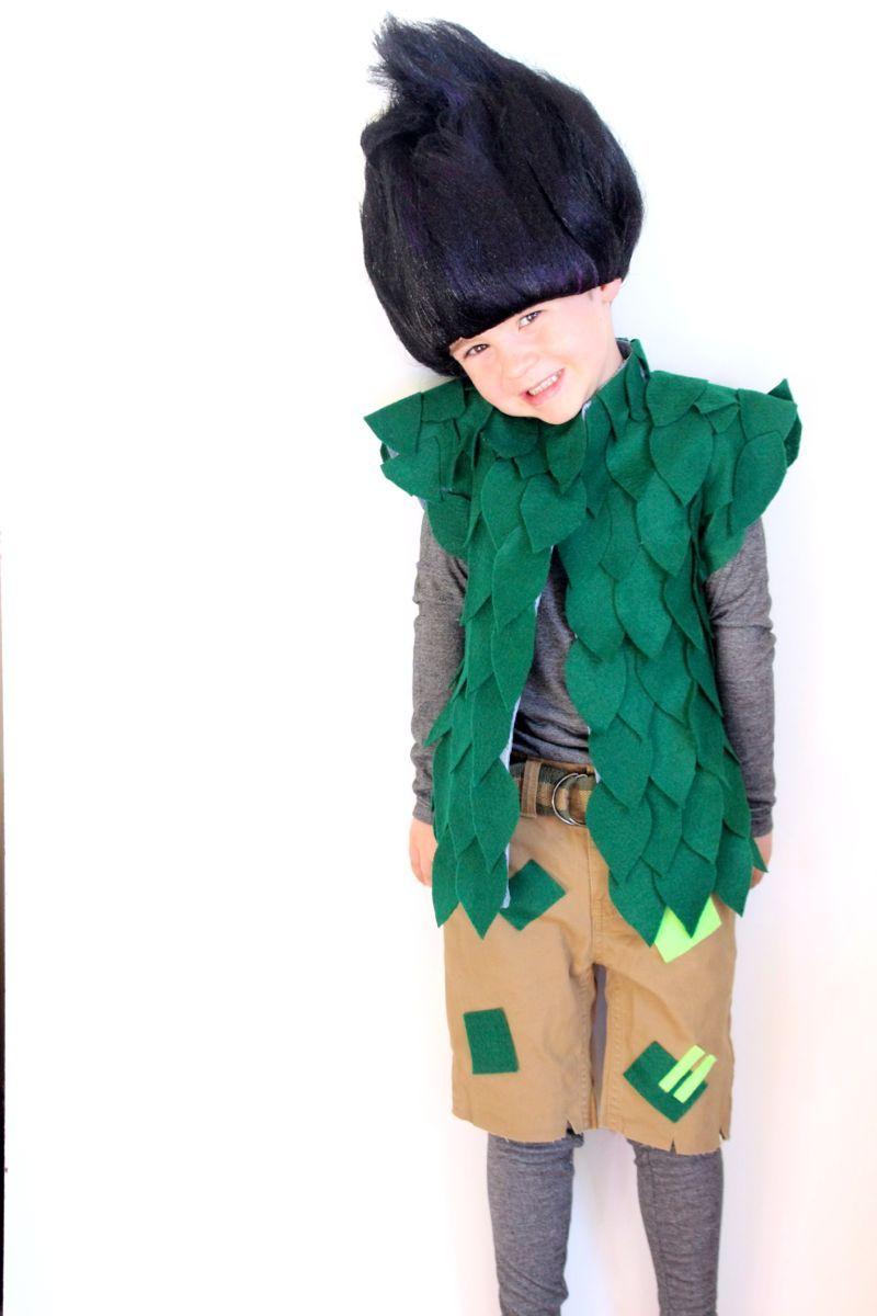 Dreamworks Trolls costume. DIY no-sew costume. leaf vest ...