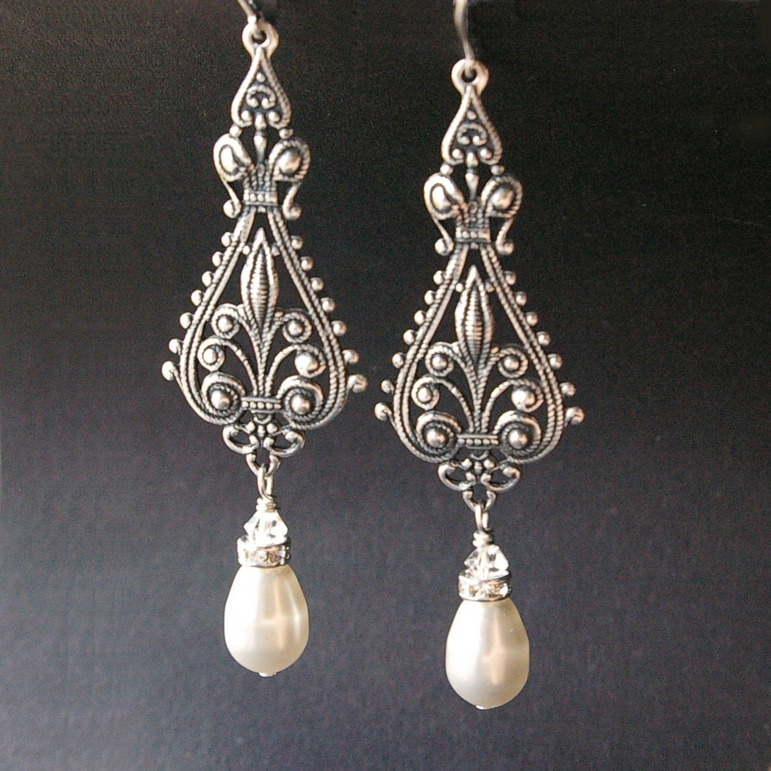 Vintage Bridal Earrings Silver Filigree Antiqued Chandelier Ivory White Pearl Vivienne 39 00 Via Etsy