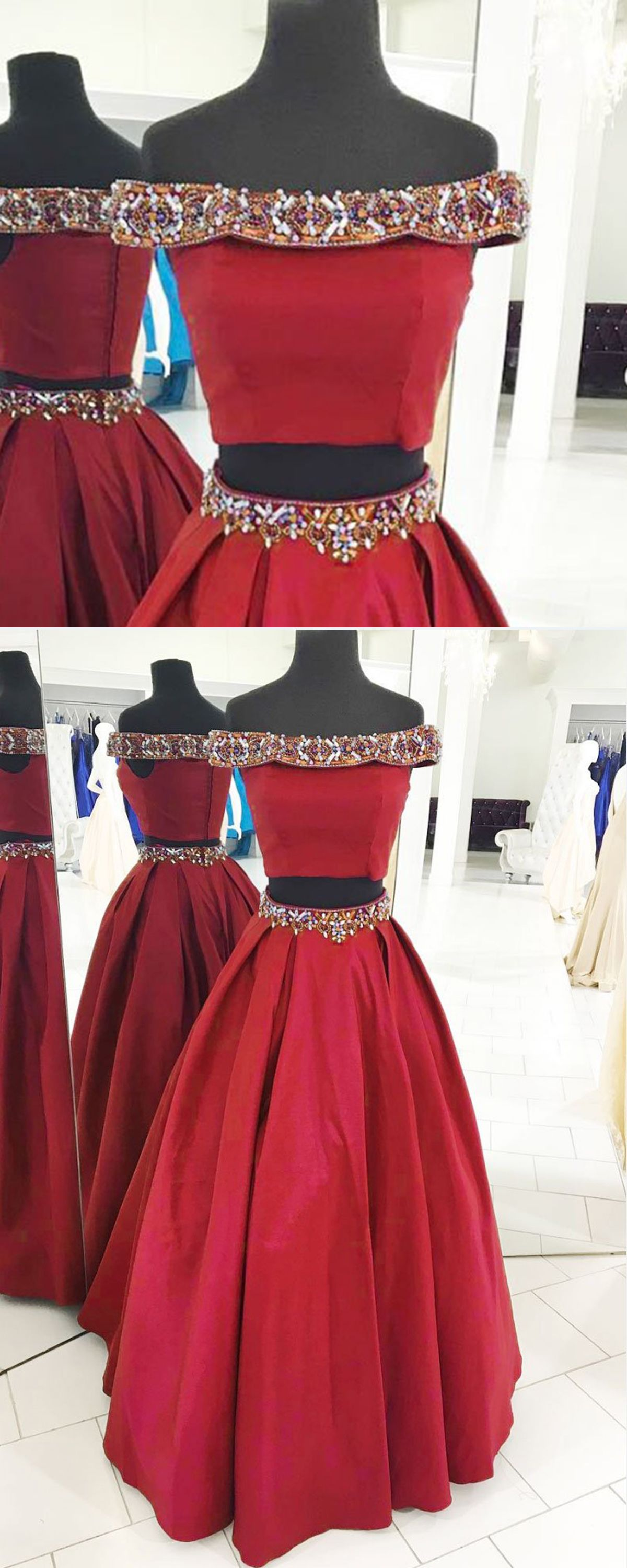 Burgundy satin two pieces off shoulder beaded long evening dress
