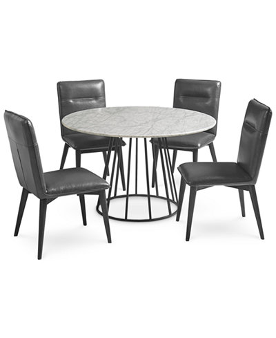 Callisto Marble Round Dining Set 5 Pc Dining Table 4 Side Chairs Only At Macy S Round Dining Set Round Dining Furniture