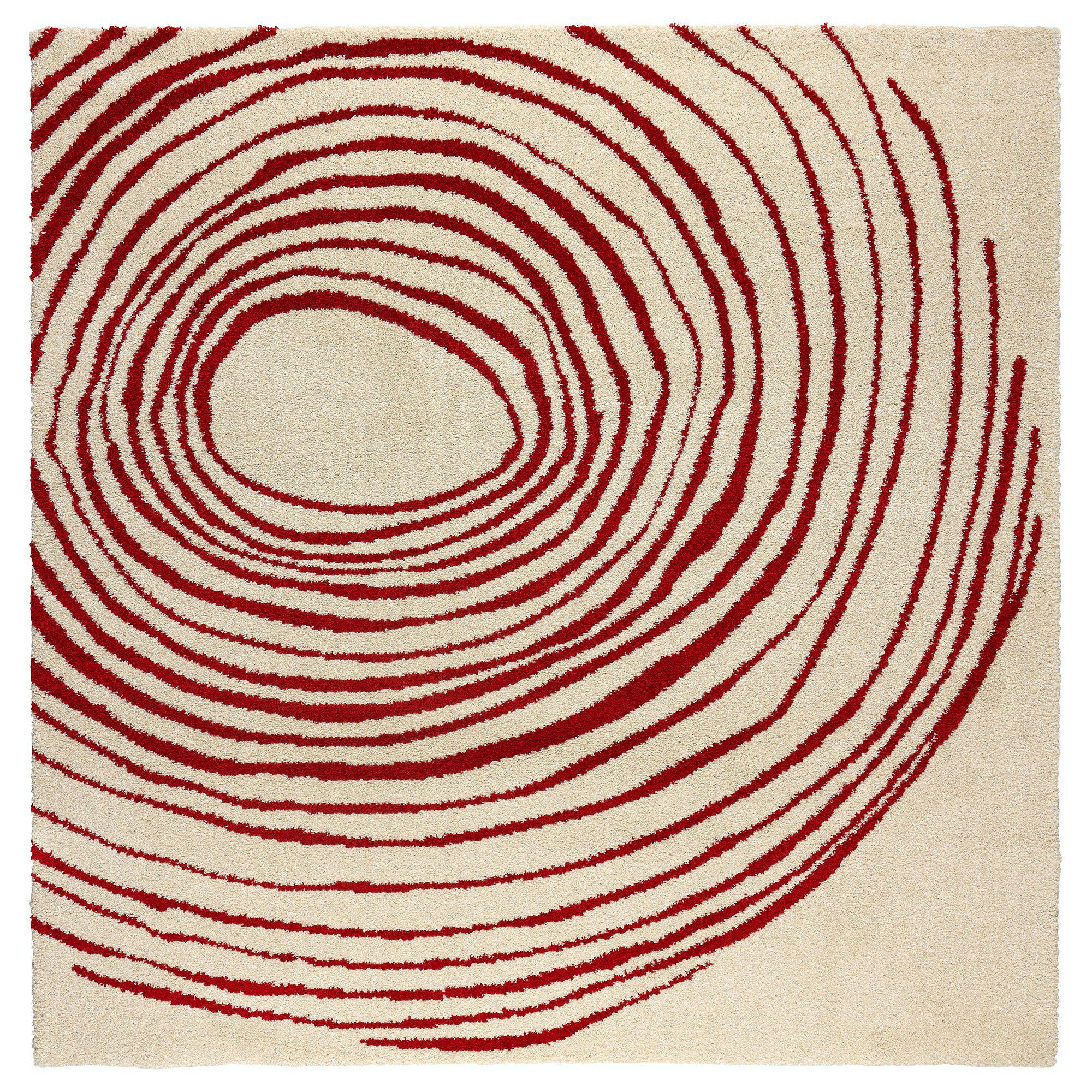 Eivor Cirkel Rug High Pile White Red 6 7 X6 7 Cirkel