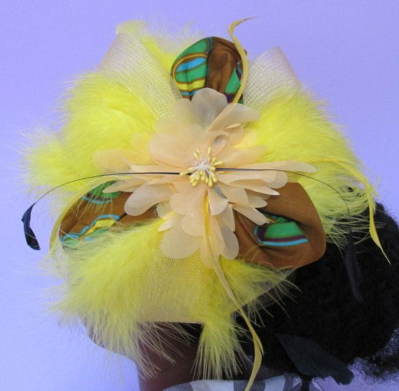 Yellow netting feather ribbon African Ankara wax by ChicAfrica