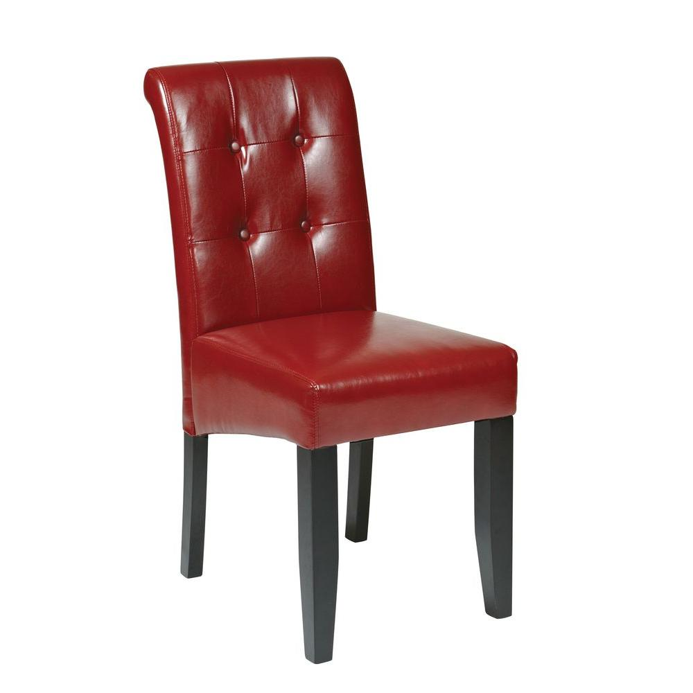 Osp Home Furnishings Crimson Red Eco Leather Parsons Dining Chair Met88rd The Home Depot Parsons Dining Chairs Leather Dining Chairs Leather Dining Red leather dining chairs