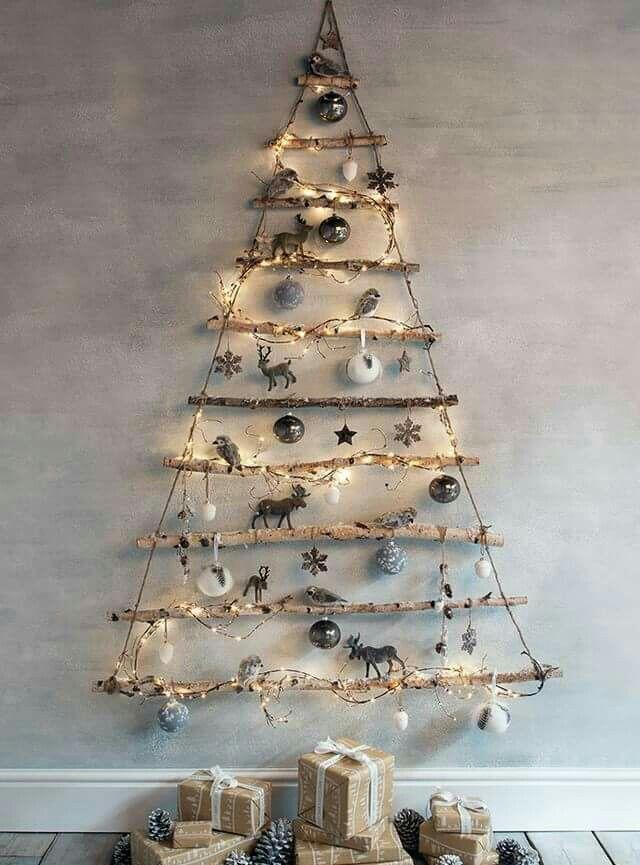 Kerstboom Aan De Muur Kerst Zelfgemaakte Kerstboom Rustieke Kerst
