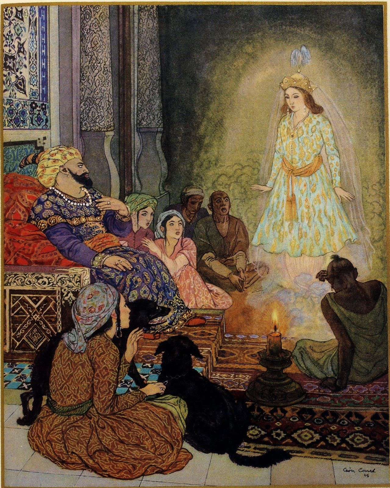 1001 Nights. Léon Georges Jean-Baptiste Carré (1878 - 1942 ) was an Orientalist painter and French illustrator. He studied in Paris with Leon Bonnat and Luc-Olivier Merson. One of 144 color llustrations by Leon Carre.