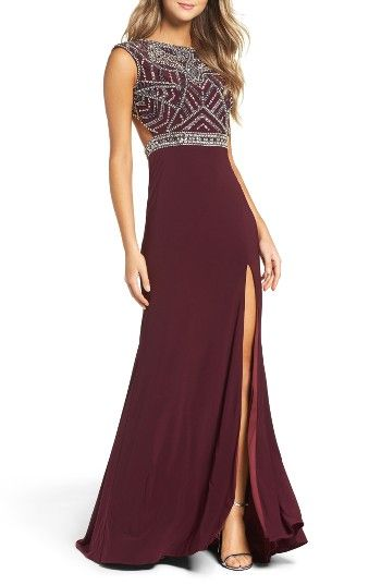 4269241f Free shipping and returns on Mac Duggal Open Back Beaded Gown at  Nordstrom.com. A sleek gown turns heads with Art Deco-inspired beading over  a fitted bodice ...