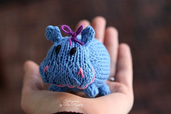 Little toy hippo handknit from eco friendly cotton yarn spring hippo knitting pattern for beginners and advanced knitters spring gift and decoration easter gift for kids and adults negle Gallery