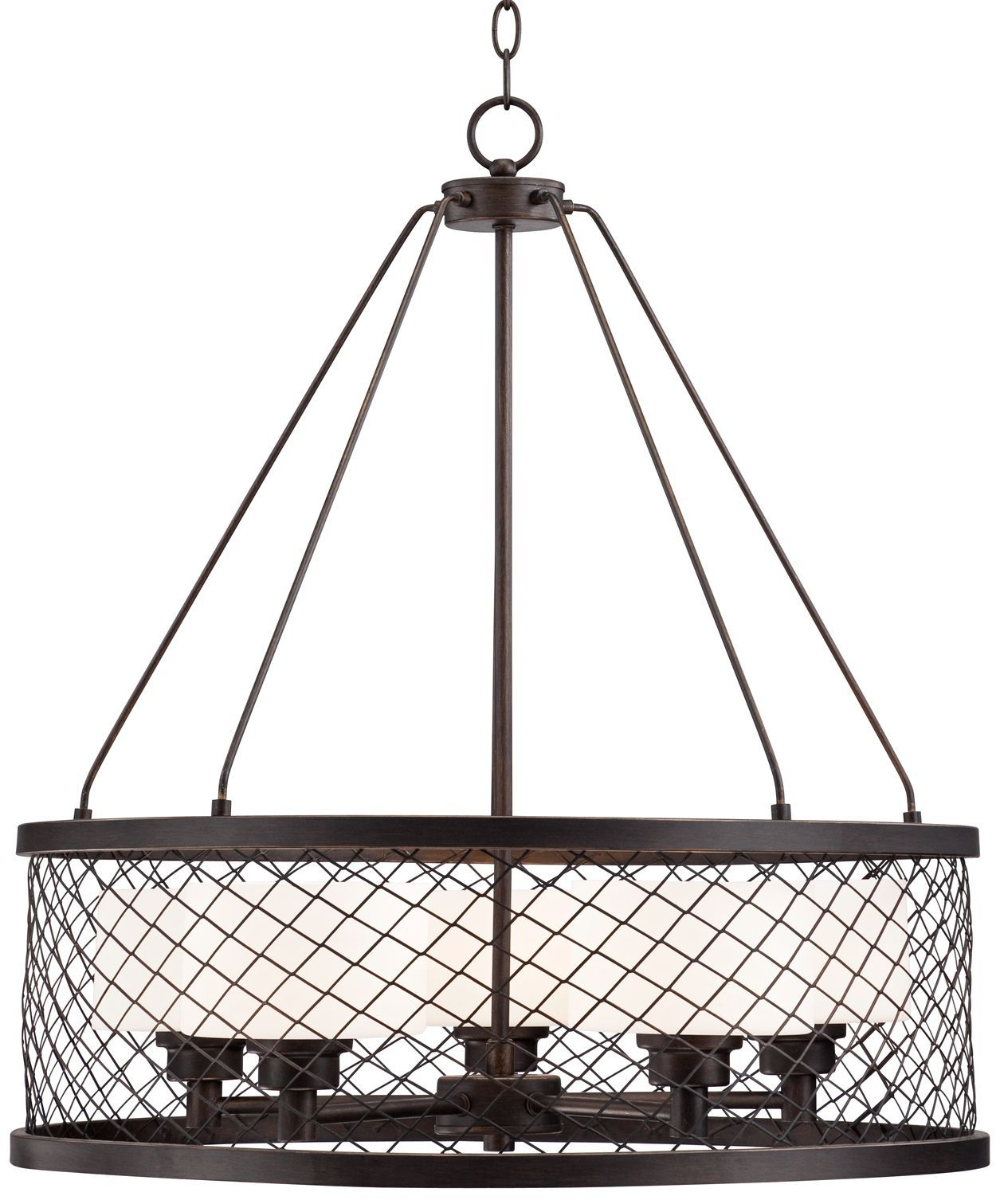 "Caged Opal Glass 24 1/4"" Wide Bronze Pendant Light - Euro Style Lighting"