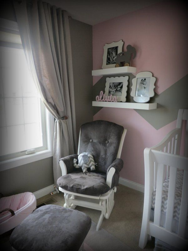 Grey and Pink Baby Nursery Chair