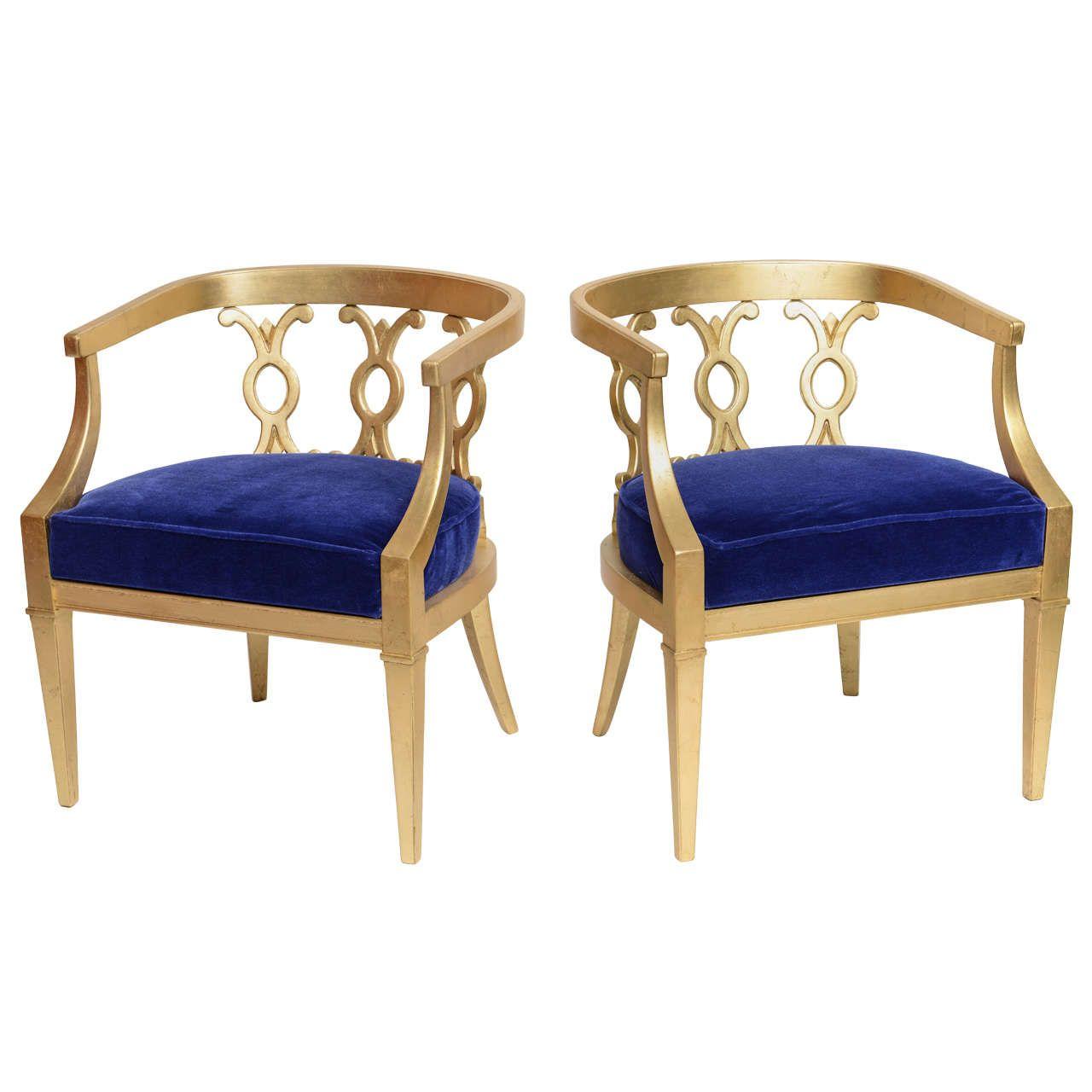 Pair Of Vintage Dorothy Draper Attribution Hollywood Regency Chairs