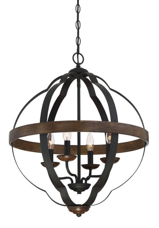 """Quoizel SRN5204 Siren 4 Light 21"""" Wide Single Tier Candle Style Chandelier Marcado Black Indoor Lighting Chandeliers"""