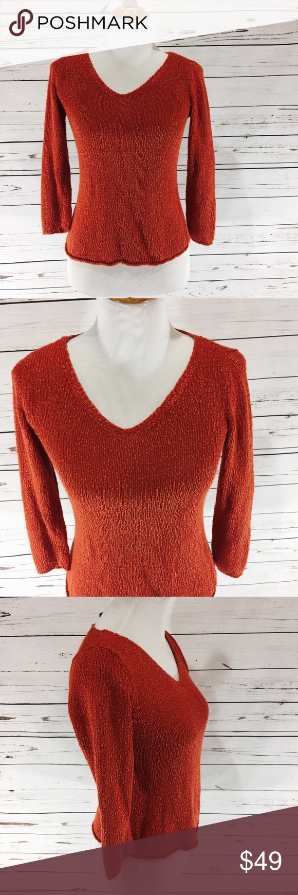 EILEEN FISHER} Italian Yarn Orange Fall Sweater