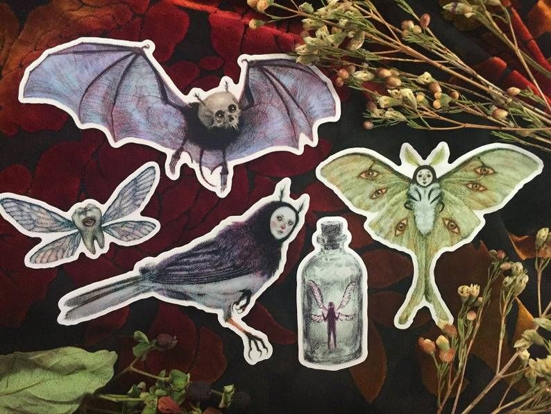 Stickers and Pin from BabsWebbArt - #And #Art #aticker #Enamel #fairies #goth #Gothic #occult #pack #patches #Pin #pins #Skull #Stationery #Sticker #Stickers #witchy