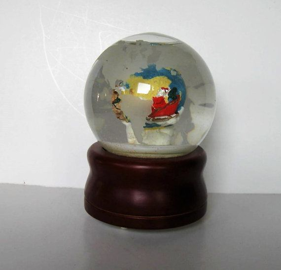 Vintage silverstrie santa musical snow globe revolving world map vintage silverstrie santa musical snow globe revolving world map joy to the world frosted glass christmas collectible gift idea gumiabroncs Choice Image
