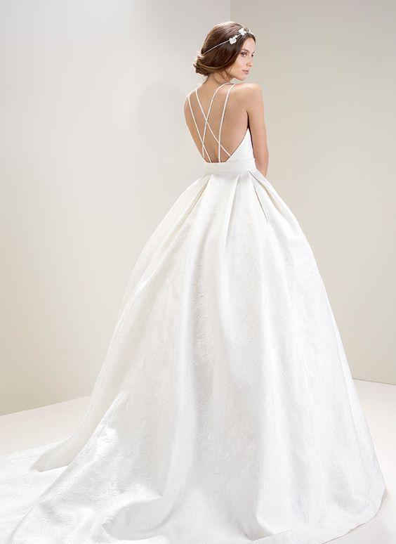Crisscross Spaghetti Strap Ballgown Wedding Dress Modwedding Wedding Dresses Bridal Dresses Ball Gowns Wedding