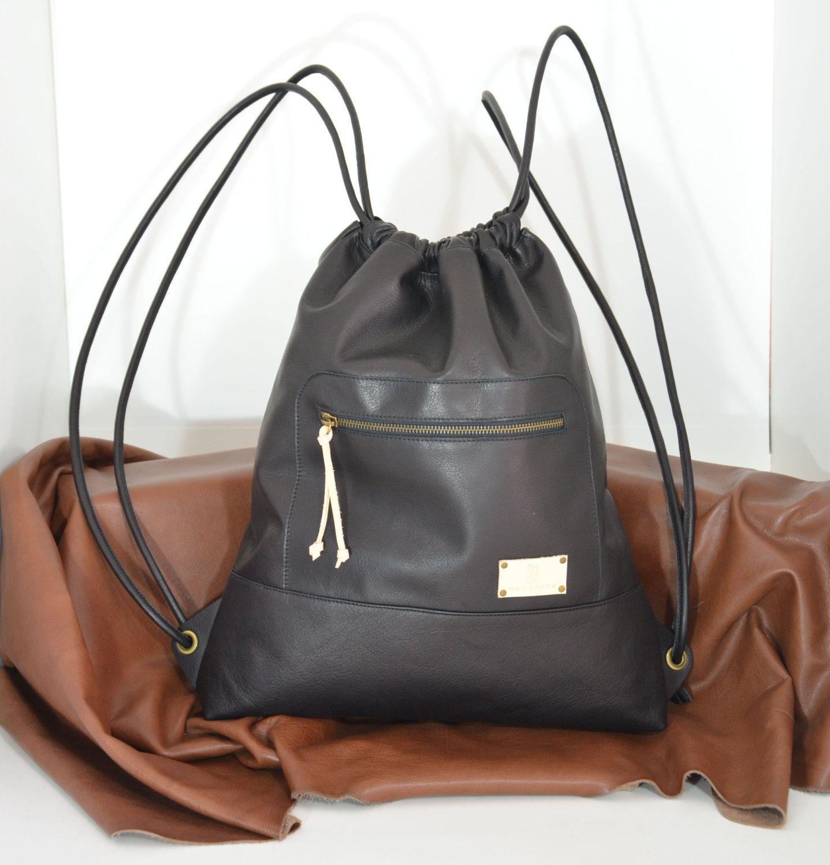 Super Black Leather Backpack,Leather Sack Bag,Sack Backpack,Large  DG11