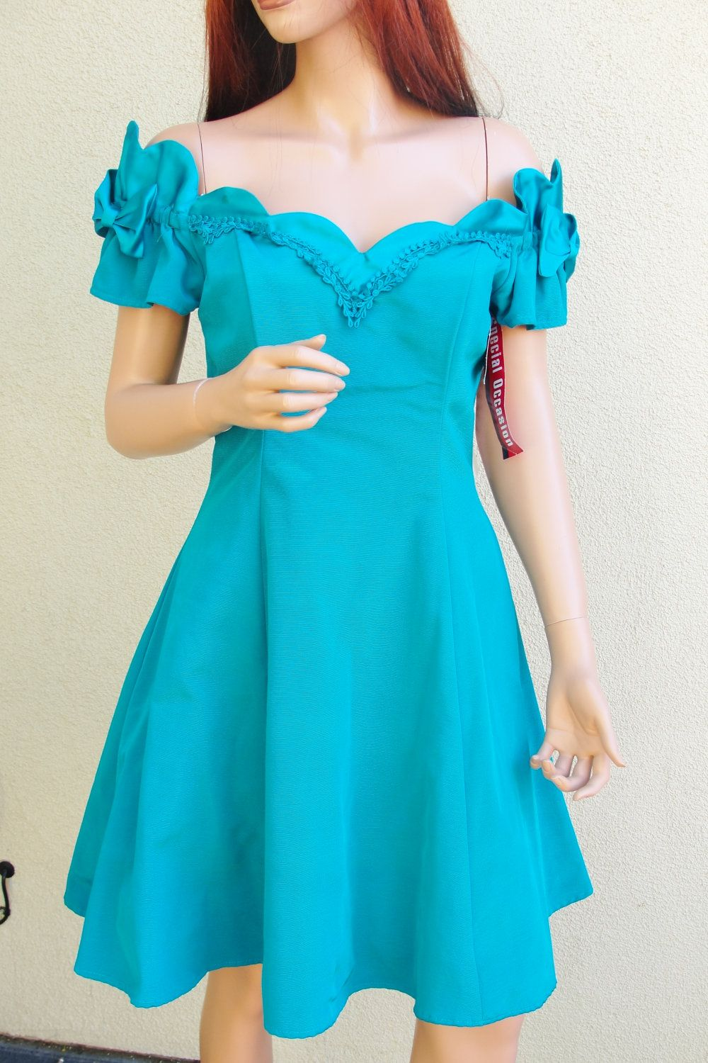 S size vintage off the shooulder prom dress by niki