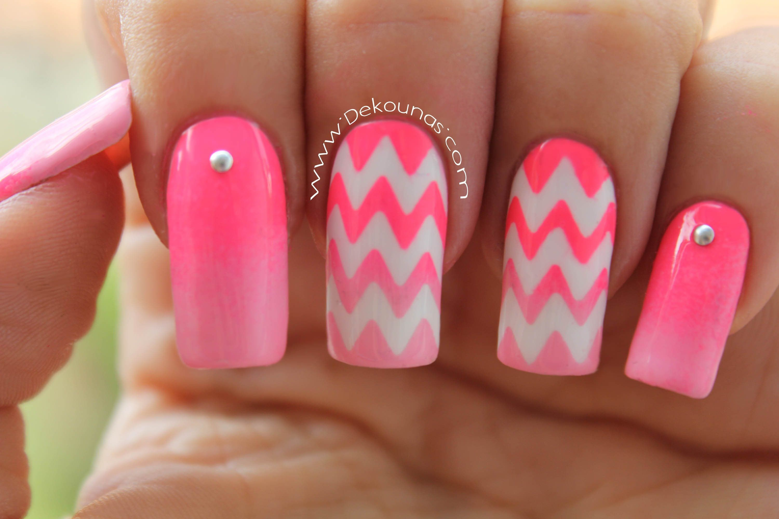 Decoraci n de u as zig zag chevron nails