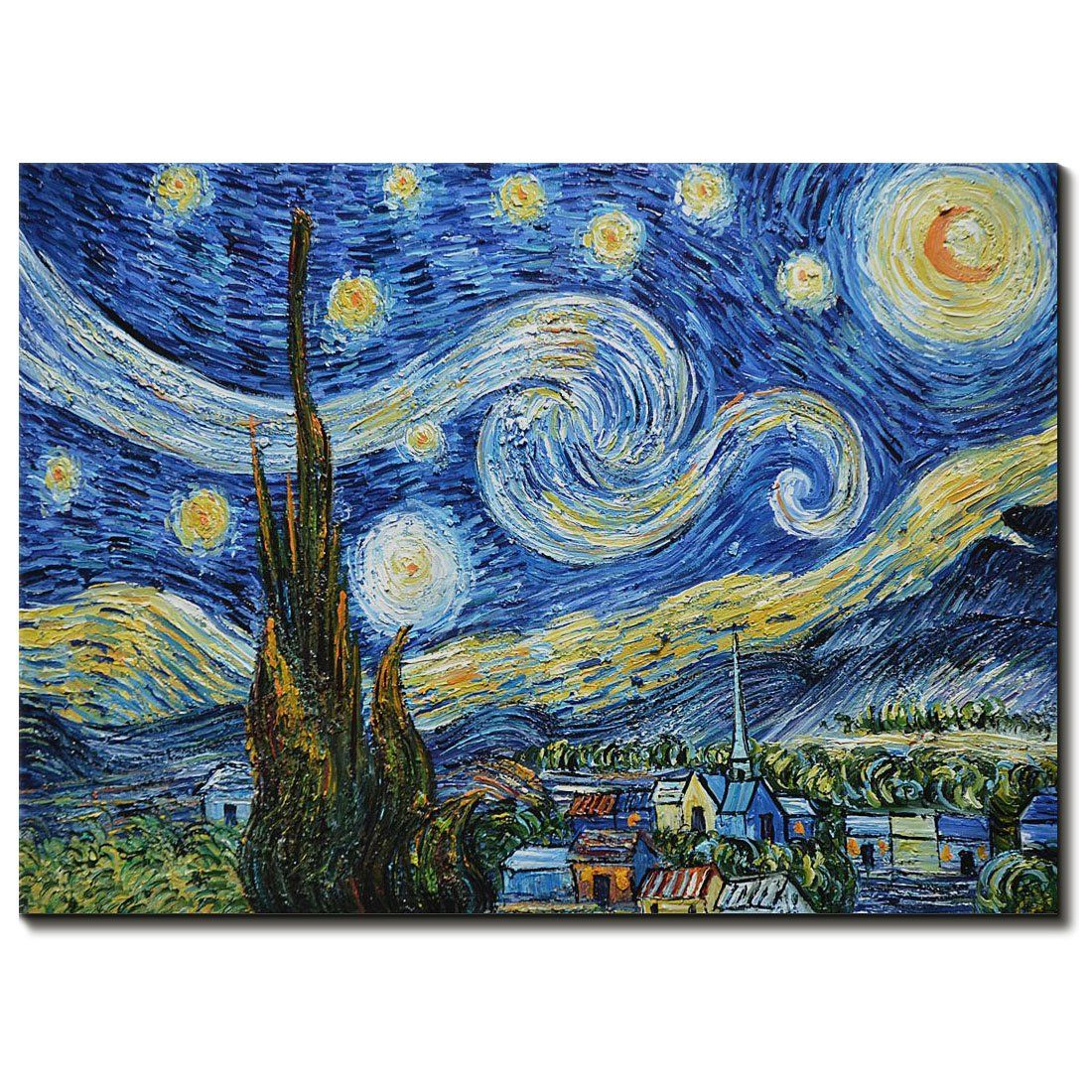 Amei Art Paintings 36x48 Inch The Starry Night By Vincent Van Gogh Oil Painting Modern Home Decor Oil Painting On Canvas Canvas Painting Starry Night Van Gogh