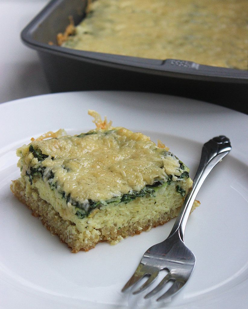 This make-ahead quinoa egg bake is about to become your new favorite gluten-free breakfast. The quinoa crust has a great crunchy texture, and the spinach brings a serving of veggies to breakfast.