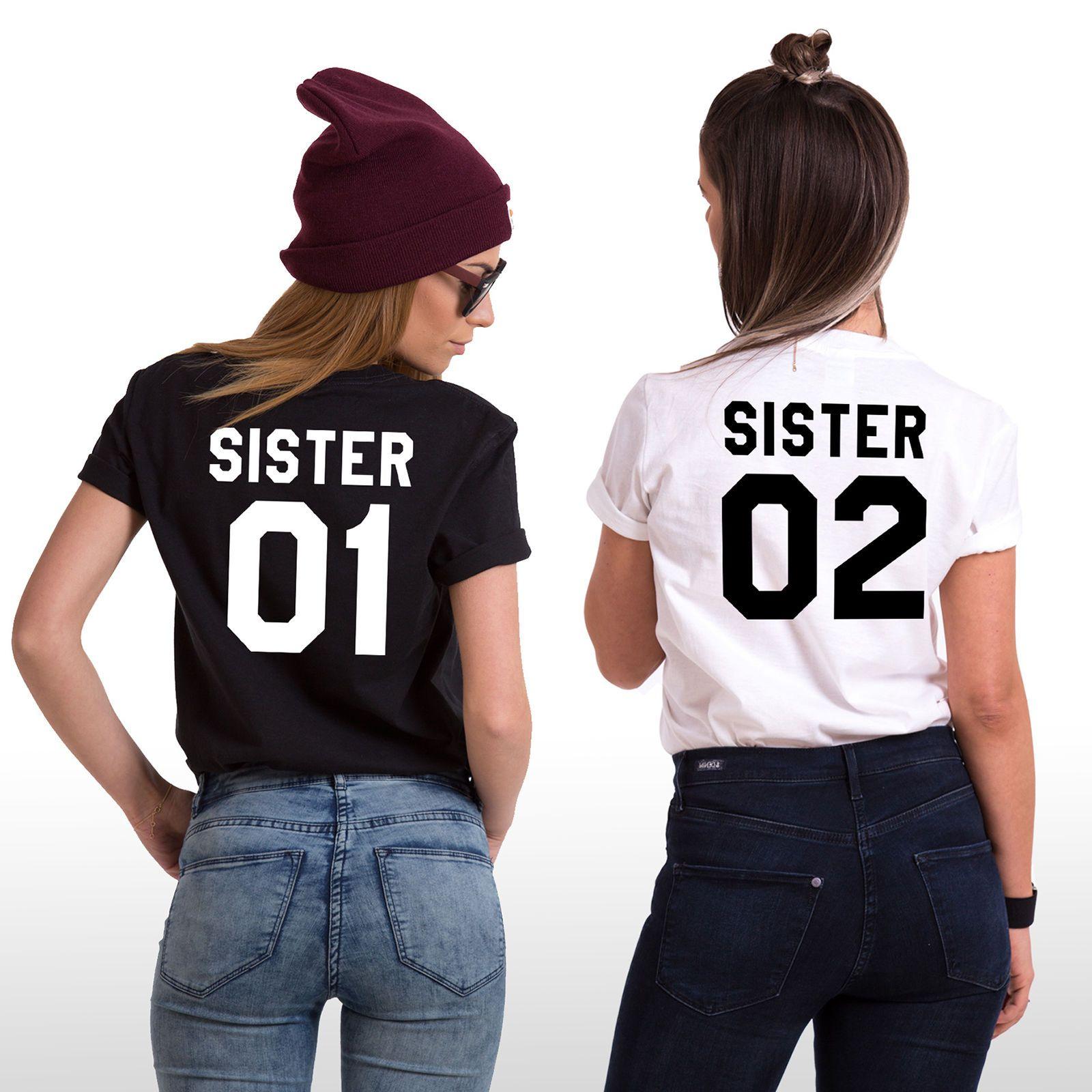 Sisters Shirts Sister 01 Sister 02 Matching Siblings T Shirts Family Tees Best Friend T Shirts Bff Shirts Funny Sibling Shirts