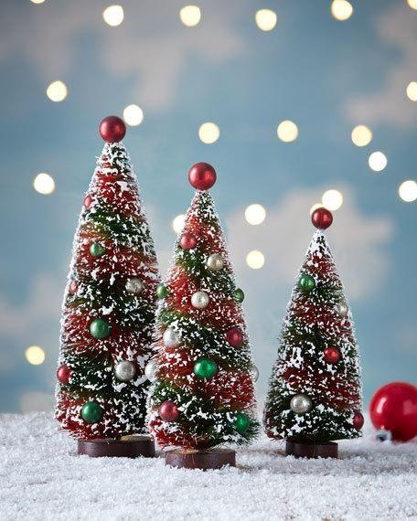 Bethany Lowe Primitive Christmas Bottle Brush Trees, 3-Piece Set