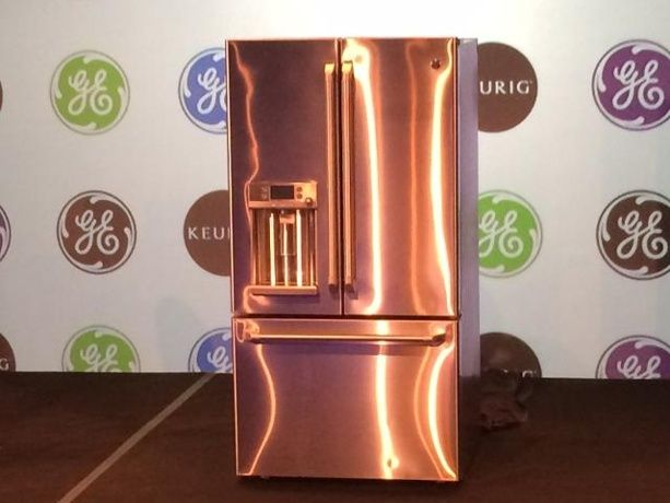 Copper Appliances Kitchen copper refrigerator, wall oven and wall microwave | copper kitchen