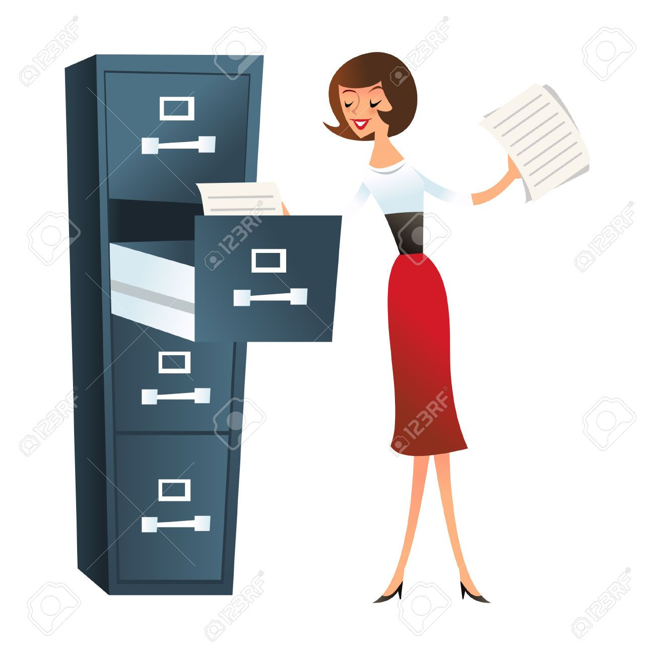 File Cabinet Clip Art: Filing Cabinet: A Illustration Of Happy Secretary Girl