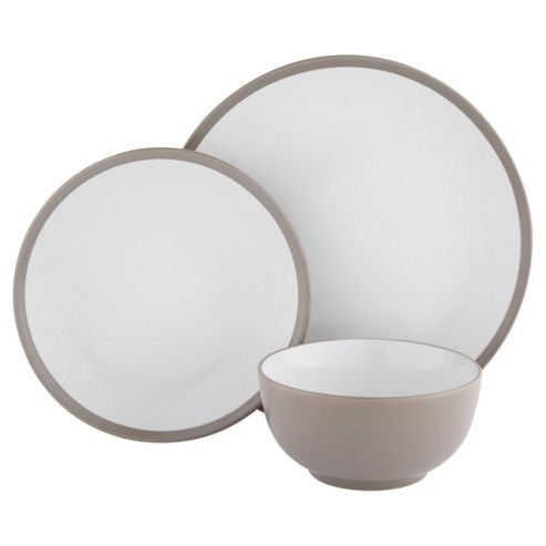 Two Tone Taupe Stoneware 12 Piece Dinner Set Dinner Sets