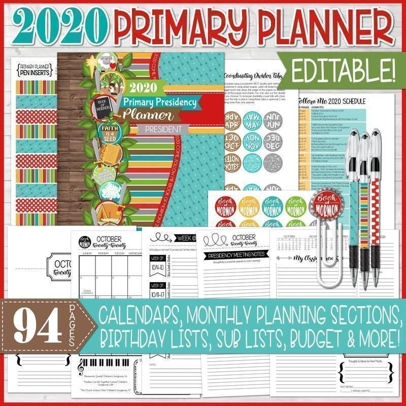 2020 PRIMARY PRESIDENCY PLANNER Printable (EDITABLE) #presidents