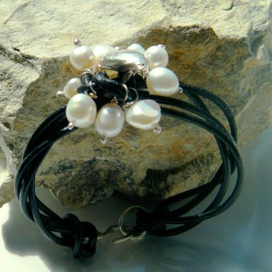 $40.00  925 Silver Heart, Pearl and Leather Bracelet