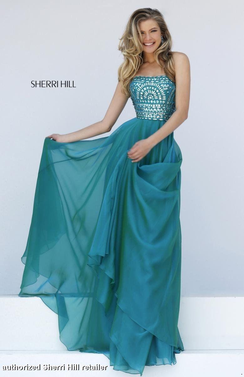 Sherri Hill Sherri Hill Prom Long blue green prom dress