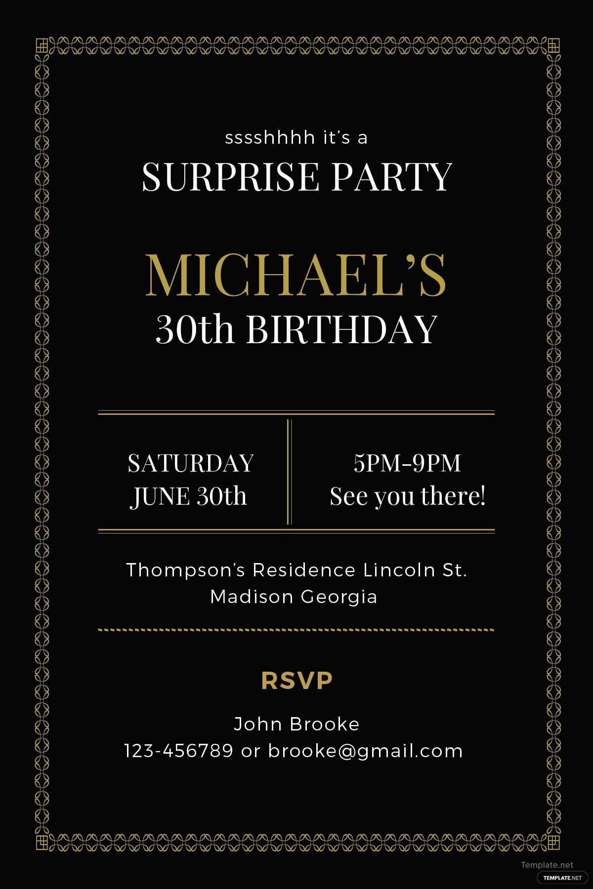 Surprise Party Invitation Template New Free Surprise Party