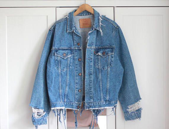 fba0d6c3274 Vintage Denim Jacket Ripped Jeans Levi s Wrangler Oversized Destroyed  Medium blue Summer festival Boho worn Grunge Unisex   Made to order