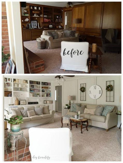 Painted Paneling Living Room: Super Painting Wood Paneling Before And After Living Rooms