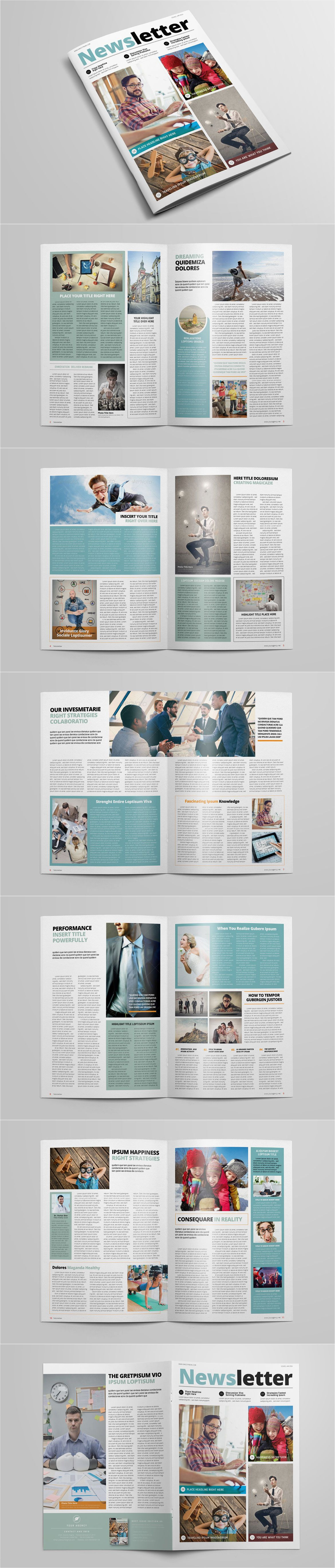 Multipurpose Newsletter Template InDesign INDD | layout | Pinterest ...
